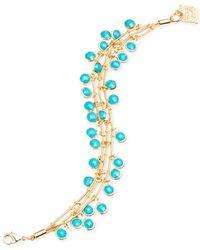 Anne Klein | Blue Gold-Tone Three Row Shaky Bead Bracelet | Lyst