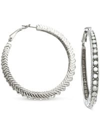 Guess | Metallic Silver-tone Textured Pave Clutchless Hoop Earrings | Lyst