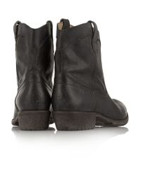 Frye Black Carson Textured-leather Boots