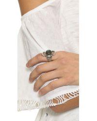 Pamela Love Metallic Lunar Cross Ring - Silver/labradorite