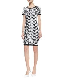 Nicole Miller Artelier | Black Short-sleeve Floral-print Dress | Lyst