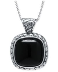 Macy's - Black Agate Square Pendant Necklace In Sterling Silver - Lyst