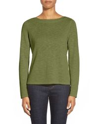 Eileen Fisher | Green Knit Bateau Neck Top | Lyst
