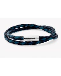 Tateossian | Double Wrap Two-tone Pop Blue And Black Leather Bracelet With Silver Clasp for Men | Lyst