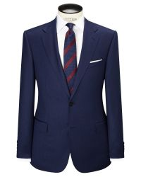 Paul Costelloe Blue Super 110s Wool Flannel Modern Fit Suit Jacket for men