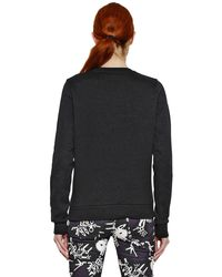 KENZO Black Embroidered Lurex Cotton Sweatshirt