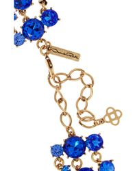 Oscar de la Renta - Blue Gold-Plated Crystal Necklace - Lyst