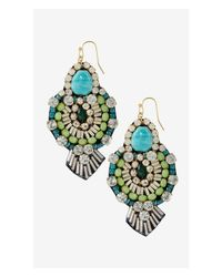 Express - Blue Mixed Bead Fabric Back Turquoise Dangle Earrings - Lyst