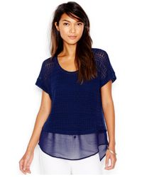 Maison Jules | Blue Sheer-contrast Layered Top | Lyst