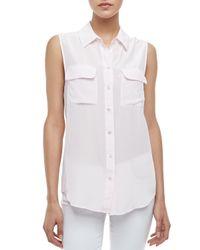 Equipment - White Signature Super Vintage Sleeveless Silk Blouse - Lyst
