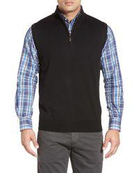 Peter Millar | Black Quarter Zip Merino Wool Vest for Men | Lyst