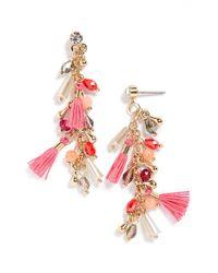 Panacea - Pink Beaded Drop Earrings - Lyst