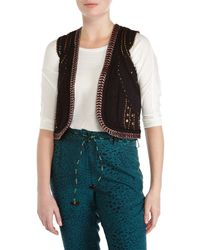 Scotch & Soda - Black Embroidered Cap Sleeve Vest - Lyst