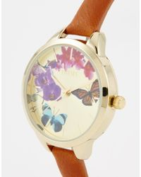 Oasis - Brown Butterfly Print Dial Tan Leather Watch - Lyst