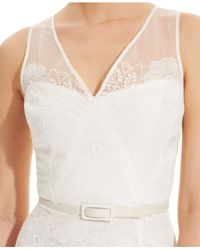 Maggy London Sleeveless Illusion Lace Sheath In Ivory