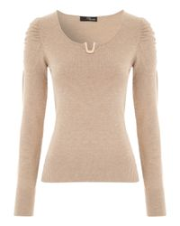 Jane Norman | Brown Metal Trim Jumper | Lyst