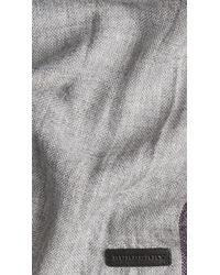 Burberry - Gray College Stripe Merino Cashmere Scarf for Men - Lyst