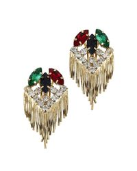 Iosselliani | Metallic Gold Plated Swarovski Fringe Earrings | Lyst