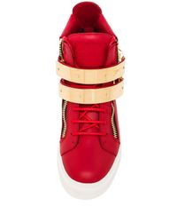 Giuseppe Zanotti Red Buckled London Leather Sneakers