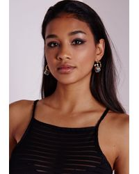 Missguided | Metallic Marble Stone Cut Out Earrings | Lyst