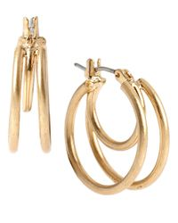 Kenneth Cole | Metallic Double Loop Hoop Earrings | Lyst