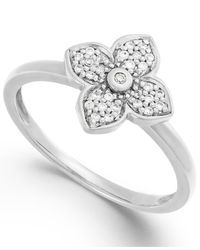 Macy's - Metallic Diamond Flower Ring In 10K White Gold (1/8 Ct. T.W.) - Lyst