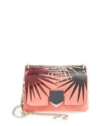 Jimmy Choo - Pink 'Lockett' Palm Applique Suede Shoulder Bag - Lyst