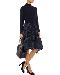 Donna Karan Blue Printed Linen And Silk-blend Skirt