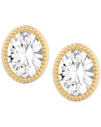 Swarovski | Metallic Gold-tone Crystal Oval Button Earrings | Lyst