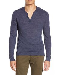One Bxwd | Blue Long Sleeve Henley for Men | Lyst