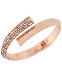 BCBGeneration | Metallic Rose Gold-tone Pavé Bypass Bracelet | Lyst