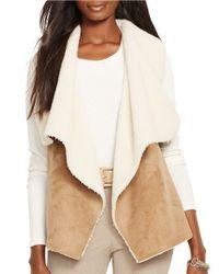 Lauren by Ralph Lauren | Brown Petite Faux Fur And Faux Suede Vest | Lyst