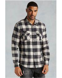 True Religion | Black Zip Plaid Western Mens Shirt for Men | Lyst