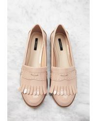 Forever 21 Natural Fringed Faux Patent Loafers