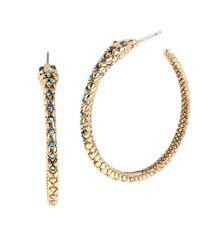 Betsey Johnson | Blue Pave Snake Hoop Earrings | Lyst
