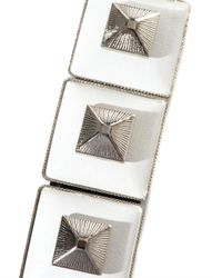 Toga Pulla - White Square Pyramid Leather Bracelet - Lyst