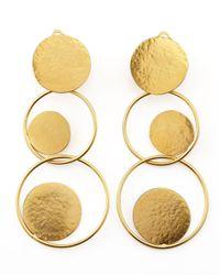 Herve Van Der Straeten | Metallic Hammered Gold Circle Drop Earrings | Lyst