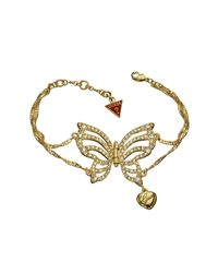 Guess | Metallic Fly Girl Butterfly Gold-pleated Bracelet | Lyst