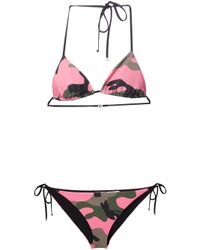 Valentino - Pink Camouflage Triangle Bikini - Lyst