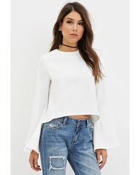 Forever 21 | Natural High-neck Bell-sleeve Top | Lyst