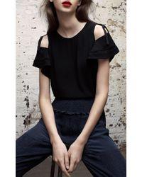 Rebecca Taylor Black Short Sleeve Open Shoulder Crop Top