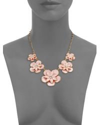 kate spade new york - Pink Graceful Floral Enamel Graduated Necklace - Lyst