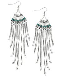 Guess | Metallic Silver-tone Crystal And Stone Fringed Chandelier Earrings | Lyst