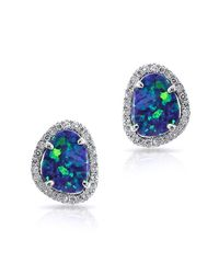 Anne Sisteron | Blue 14kt White Gold Mini Organic Opal Diamond Stud Earrings | Lyst