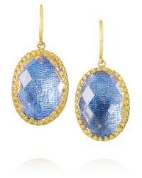Larkspur & Hawk Blue Small Lily Gold-Dipped Topaz Earrings