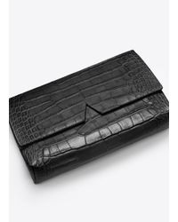 Vince Black Croc-Embossed Leather Clutch