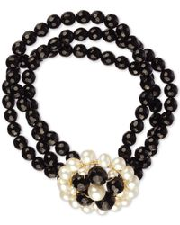 Macy's | Cultured Freshwater Pearl (3.5-6mm) And Black Onyx (100 Ct. T.w.) 3 Row Flower Bracelet In 14k Gold-plated Sterling Silver | Lyst