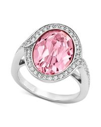 Swarovski | Pink Rhodiumplated Light Rose Crystal Ring | Lyst