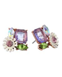 Betsey Johnson | Spring Fling Purple Flower Rhinestone Stud Earrings | Lyst