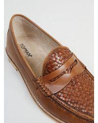 TOPMAN - Brown Oscar Weave Tan Leather Penny Loafers for Men - Lyst